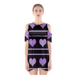 Purple Harts Pattern Shoulder Cutout One Piece by Valentinaart