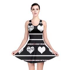 Elegant Harts Pattern Reversible Skater Dress by Valentinaart
