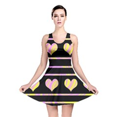 Pink And Yellow Harts Pattern Reversible Skater Dress by Valentinaart