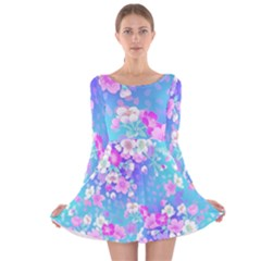 Colorful Pastel  Flowers Long Sleeve Velvet Skater Dress by Brittlevirginclothing