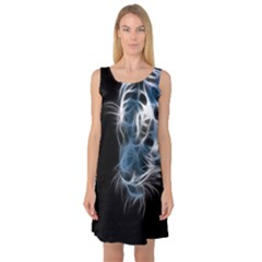 Ghost Tiger Sleeveless Satin Nightdress by Brittlevirginclothing