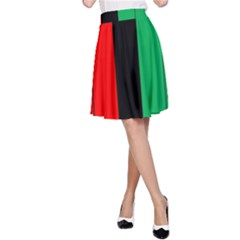 Kwanzaa Colors African American Red Black Green  A Line Skirt by yoursparklingshop