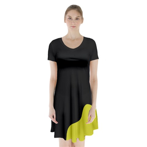 Black And Yellow Short Sleeve V Neck Flare Dress