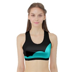 Black And Cyan Sports Bra With Border by Valentinaart