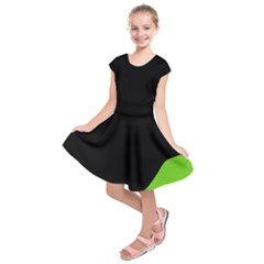Black And Green Kids  Short Sleeve Dress by Valentinaart