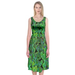 Green Corals Midi Sleeveless Dress by Valentinaart
