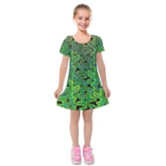Green Corals Kids  Short Sleeve Velvet Dress by Valentinaart