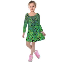 Green Corals Kids  Long Sleeve Velvet Dress by Valentinaart
