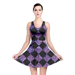 Square2 Black Marble & Purple Marble Reversible Skater Dress