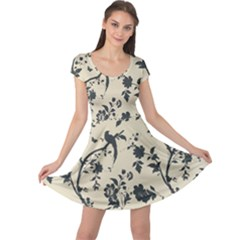 Cottonwood White Leaf Wallpaper Bird Cap Sleeve Dresses by AnjaniArt