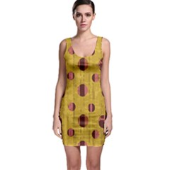 Dot Mustard Sleeveless Bodycon Dress