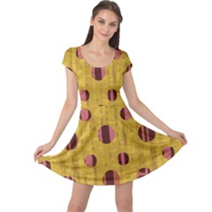 Dot Mustard Cap Sleeve Dresses by AnjaniArt