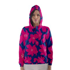 Flower Red Blue Hooded Wind Breaker (women)