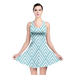 Geometric Blue Reversible Skater Dress