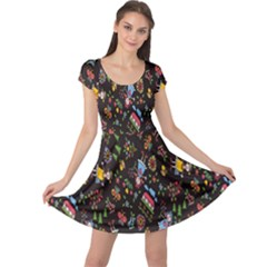 Happy Family Flower Home Sweet Bee Cap Sleeve Dresses by AnjaniArt