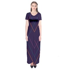 Line Color Short Sleeve Maxi Dress by AnjaniArt