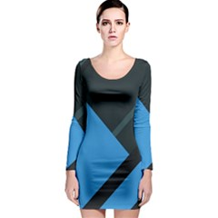 Lines Textur  Stripes Blue Long Sleeve Bodycon Dress by AnjaniArt