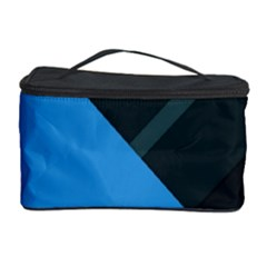 Lines Textur  Stripes Blue Cosmetic Storage Case by AnjaniArt