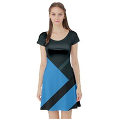 Lines Textur  Stripes Blue Short Sleeve Skater Dress by AnjaniArt
