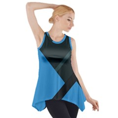 Lines Textur  Stripes Blue Side Drop Tank Tunic by AnjaniArt