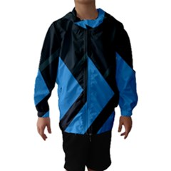 Lines Textur  Stripes Blue Hooded Wind Breaker (kids) by AnjaniArt