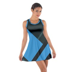 Lines Textur  Stripes Blue Cotton Racerback Dress by AnjaniArt