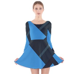 Lines Textur  Stripes Blue Long Sleeve Velvet Skater Dress by AnjaniArt