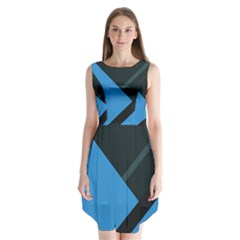 Lines Textur  Stripes Blue Sleeveless Chiffon Dress   by AnjaniArt