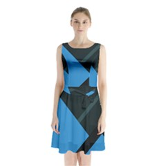 Lines Textur  Stripes Blue Sleeveless Chiffon Waist Tie Dress by AnjaniArt