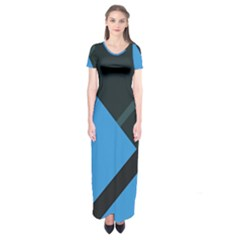 Lines Textur  Stripes Blue Short Sleeve Maxi Dress by AnjaniArt