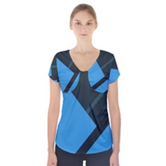 Lines Textur  Stripes Blue Short Sleeve Front Detail Top by AnjaniArt