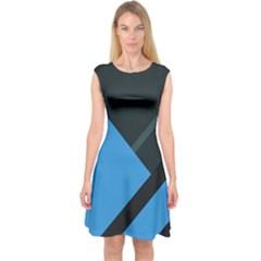 Lines Textur  Stripes Blue Capsleeve Midi Dress by AnjaniArt