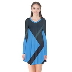 Lines Textur  Stripes Blue Flare Dress by AnjaniArt