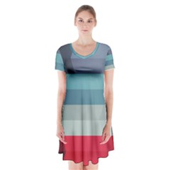 Line Light Stripes Colorful Short Sleeve V Neck Flare Dress by AnjaniArt