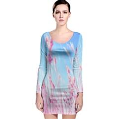 Pink Colour Long Sleeve Bodycon Dress