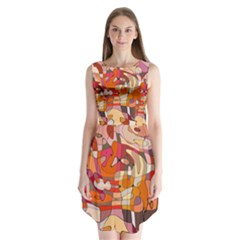 Abstract Abstraction Pattern Moder Sleeveless Chiffon Dress   by Amaryn4rt