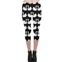 Swan Animals Capri Leggings  by AnjaniArt