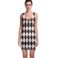Tumblr Static Argyle Pattern Gray Brown Sleeveless Bodycon Dress by AnjaniArt