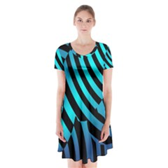 Turtle Swimming Black Blue Sea Short Sleeve V Neck Flare Dress by AnjaniArt