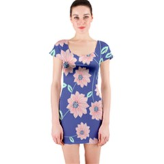 Seamless Blue Floral Short Sleeve Bodycon Dress