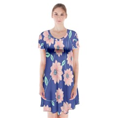 Seamless Blue Floral Short Sleeve V Neck Flare Dress by AnjaniArt