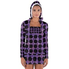 Circles1 Black Marble & Purple Marble (r) Long Sleeve Hooded T Shirt by trendistuff