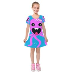 Bubble Octopus Copy Kids  Short Sleeve Velvet Dress by Jojostore
