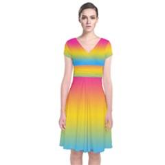 Pink Orange Green Blue Short Sleeve Front Wrap Dress by Jojostore