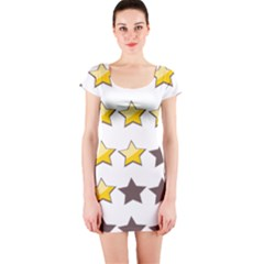 Star Rating Copy Short Sleeve Bodycon Dress by Jojostore