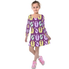 Soles Of The Feet Kids  Long Sleeve Velvet Dress