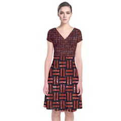 Woven1 Black Marble & Red Marble Short Sleeve Front Wrap Dress by trendistuff