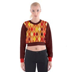 Harlequine Caramel Pattern Women s Cropped Sweatshirt by PKHarrisPlace