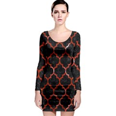Tile1 Black Marble & Red Marble Long Sleeve Bodycon Dress by trendistuff