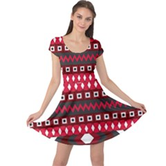 Asterey Red Pattern Cap Sleeve Dresses by Jojostore